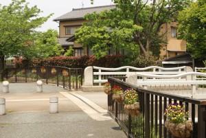 植え替え前の花かご-馬場川緑道