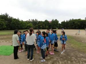 御経塚町内会夏祭り:子ども会虫送り太鼓準備