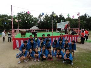 御経塚町内会夏祭り:子ども会虫送り太鼓メンバー